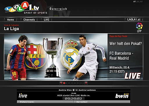 Internet-†bertragung Real Madrid - FC Barcelona auf www.laola1.tv erneut Riesenerfolg
